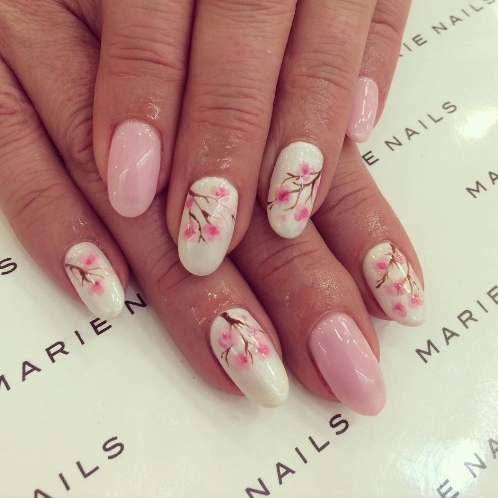japanese cherry blossom nail designs for spring