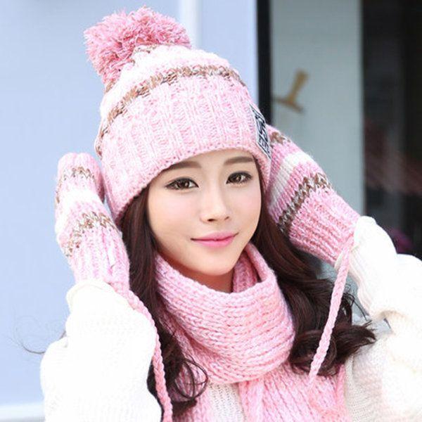 d6b9d848c81 Women Winter Hat Scarves Gloves Set Cotton Kintted Pompom Hats Stripe Thick  Beanie Collar Gloves
