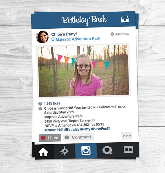 Instagram Birthday Party Invitations Party by PartyPrintsOnline