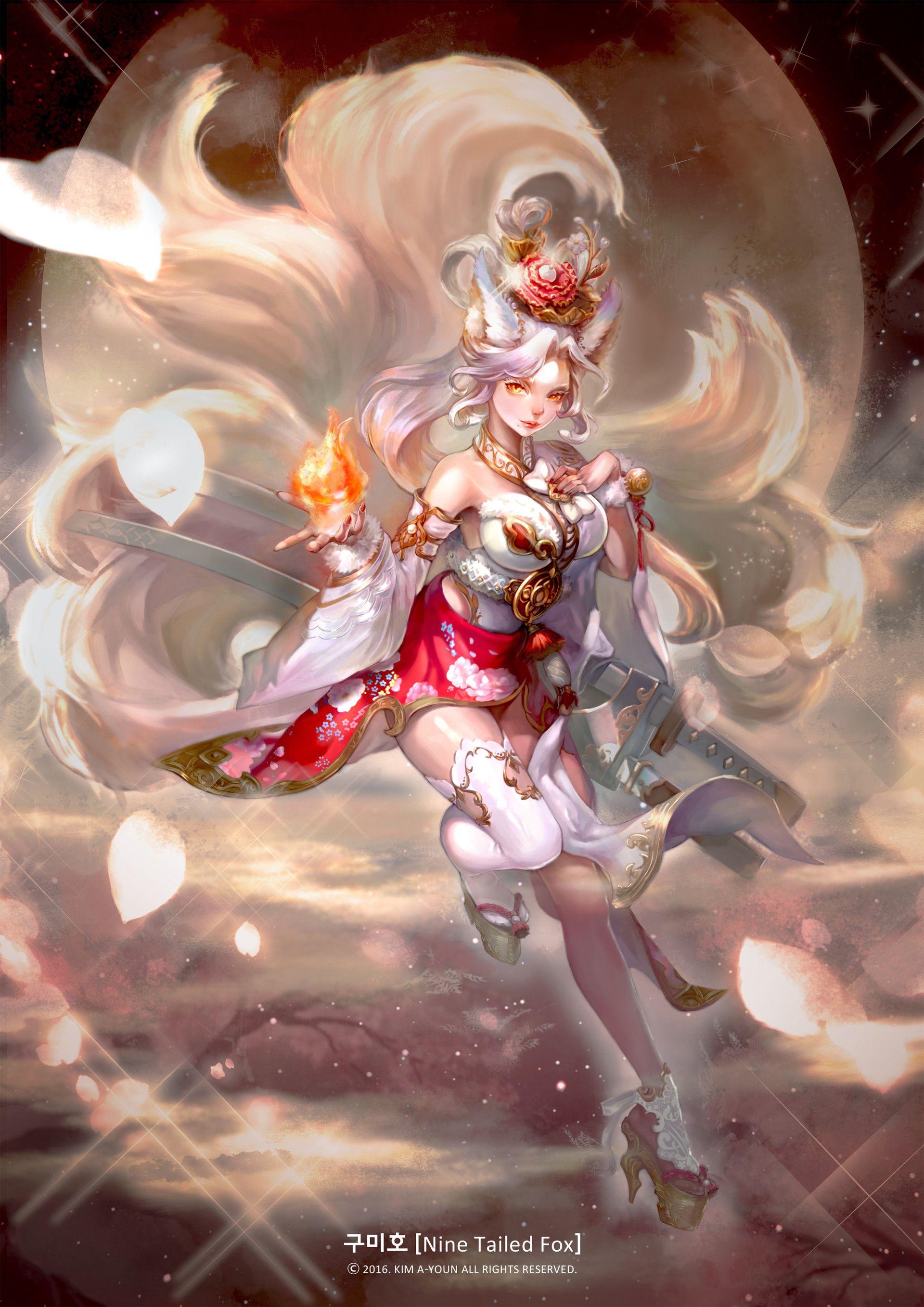 ArtStation White Fox spirit, AYOUN KIM Anime & Manga