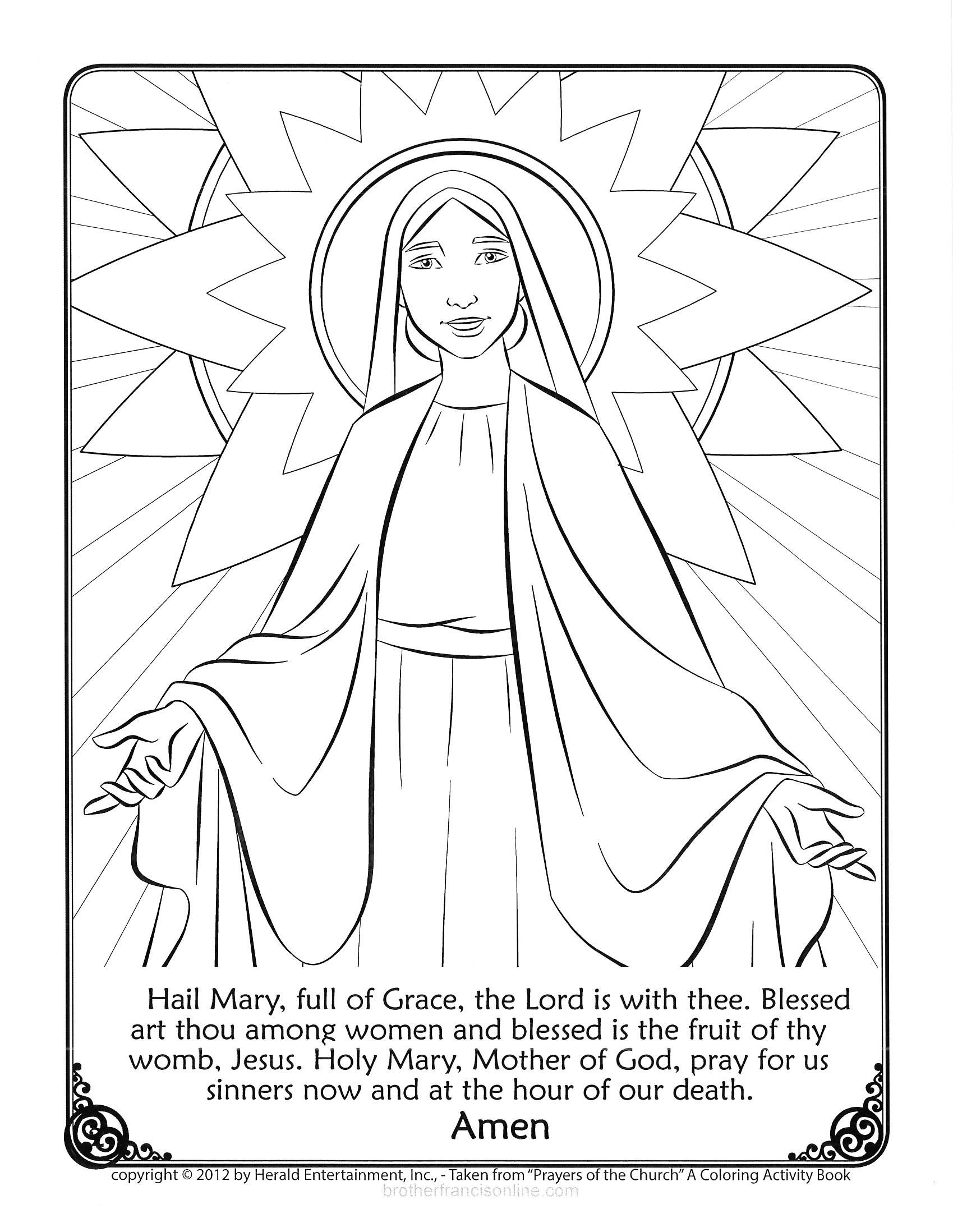 Mary Coloring Page. With the Hail Mary prayer printed below. Color ...