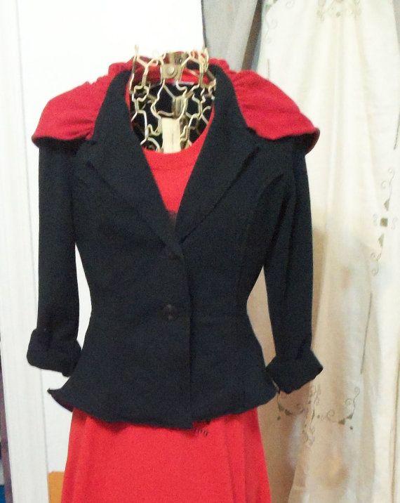 Hooded Jacket Hooded Blazer Hand made Peplum by 6sistersdenimchic