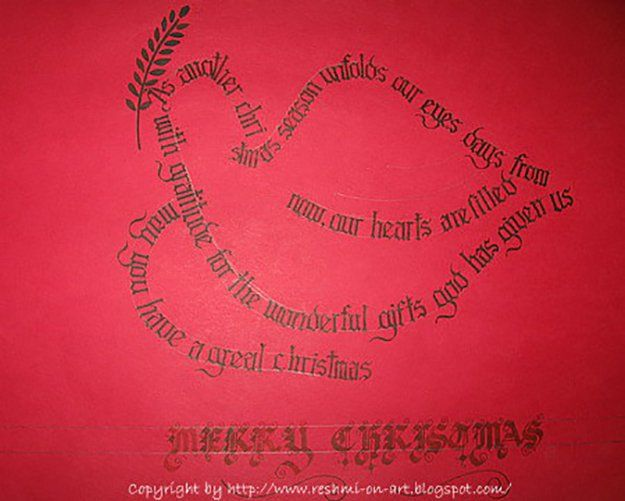 Ideas For Making Your Own Christmas Cards Part - 42: Christmas Calligraphy Cards
