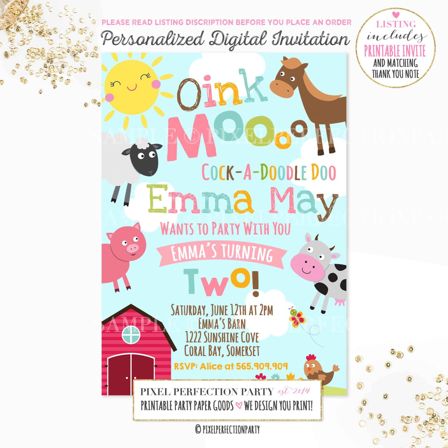 Farm Invitation Girls Farm Invitation Pink Farm Invitation ...