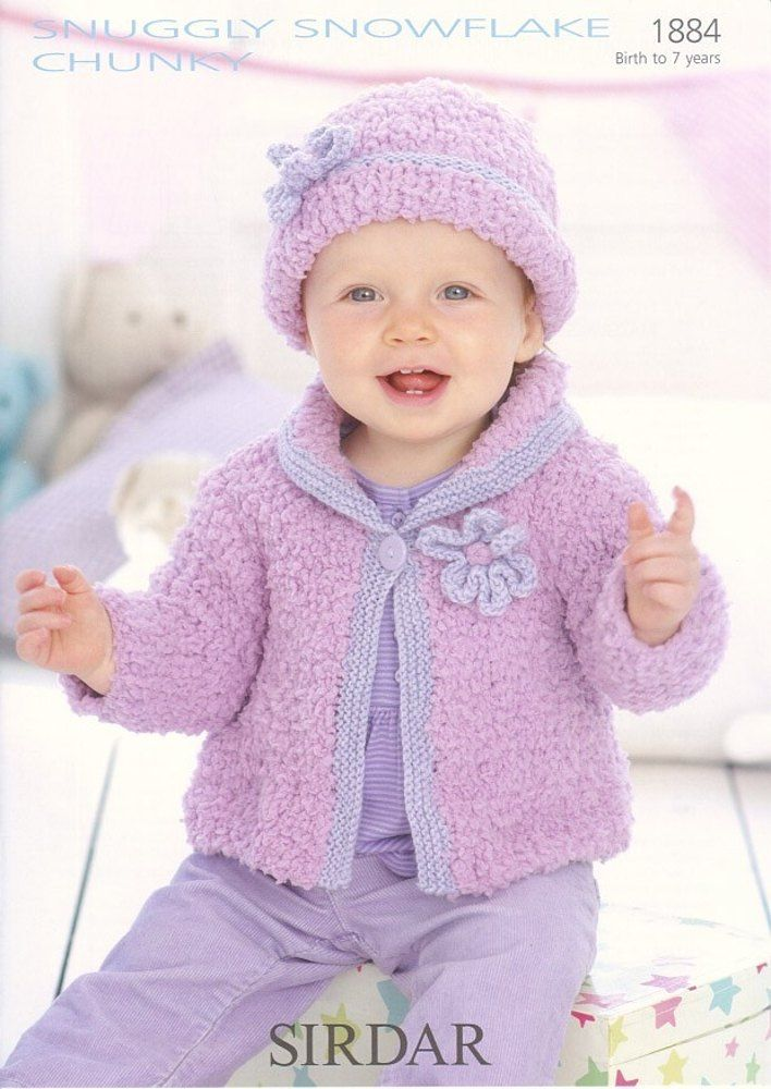 Cardigan and Hat in Sirdar Snuggly Snowflake Chunky and Snuggly DK ...
