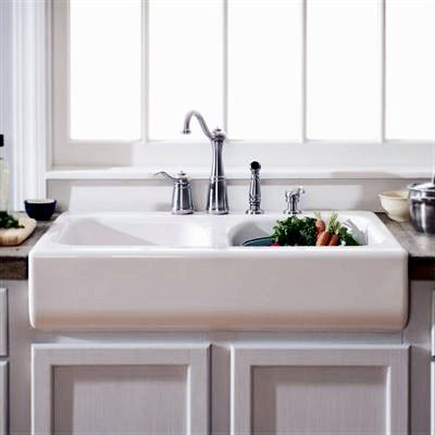 Deluxe Apron Front Dual Basin Acrylic Kitchen Sink in White (other ...
