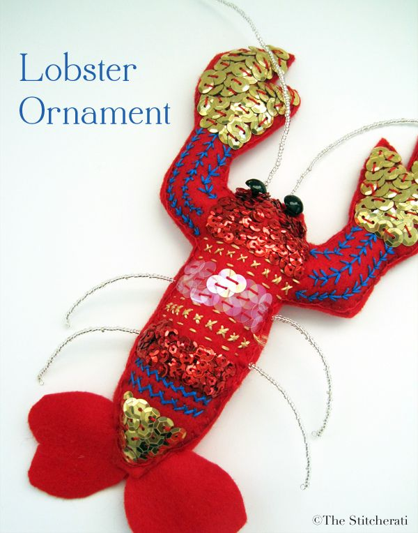 The Stitcherati lobster ornament | Diy:Felt/Toy Pattern | Pinterest