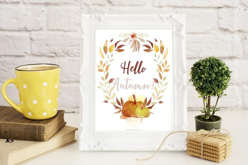 Hello Autumn Printable Art, 8x10inches, Watercolor Art, October Prints, Wall Art Home Decor, Instant Download, Fall Printable #helloautumn