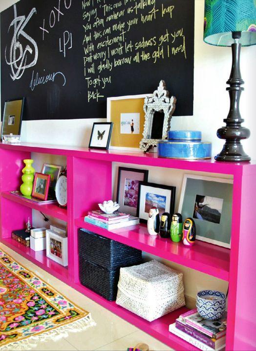 Hot pink bookshelf | Living Rooms | Pinterest | Pink bookshelves ...