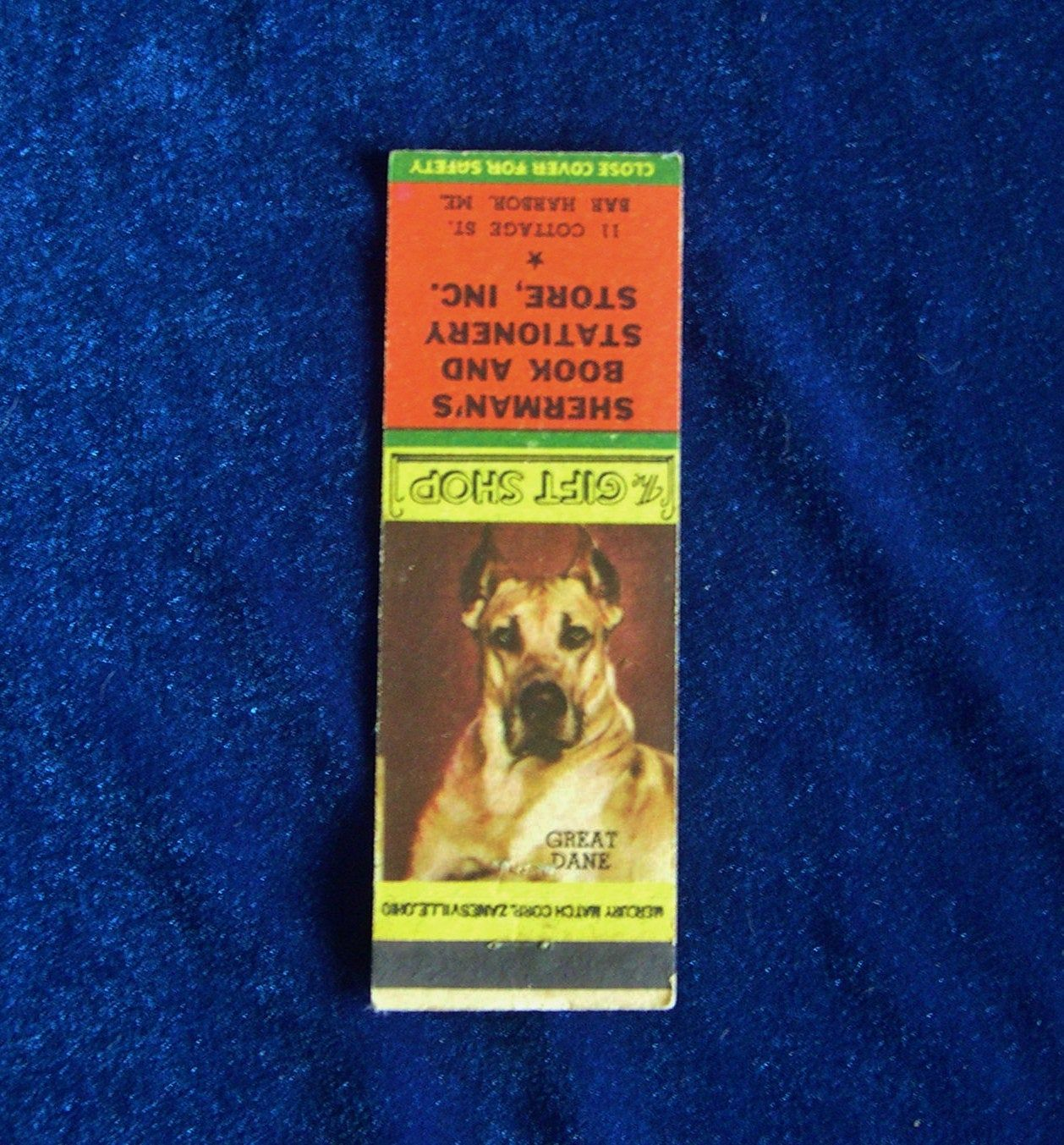 1940s great dane matchbook cover shermans book