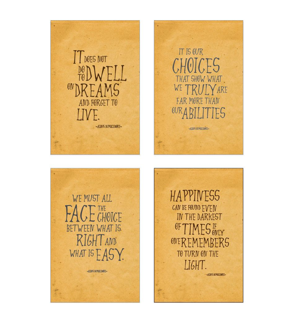 SALE! Harry Potter art print set Albus Dumbledore quotes ...