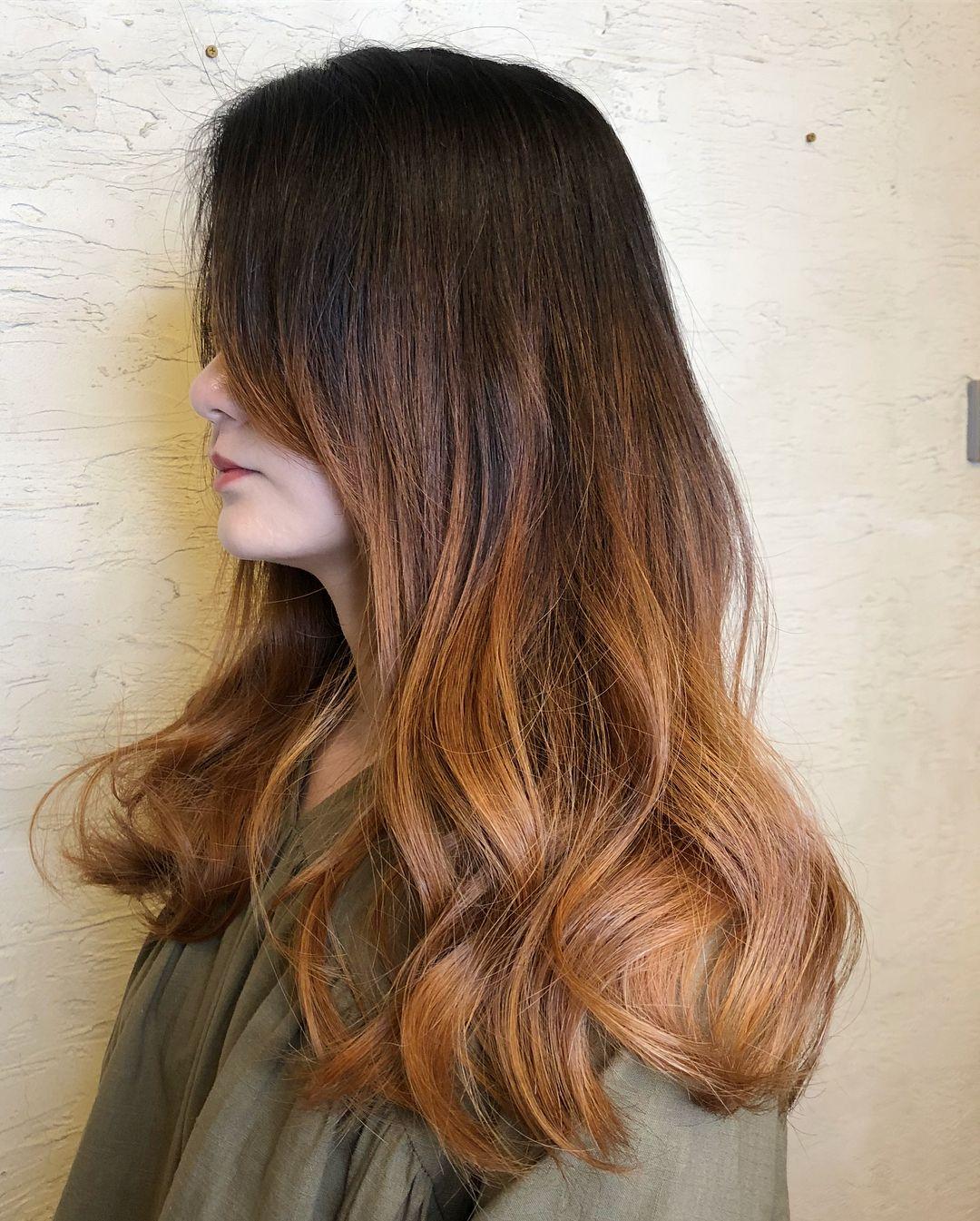 Caramel Copper Balayage Ombre Hair Colour Caramel Brown Hair Grey Hair Gel Hair Color Caramel