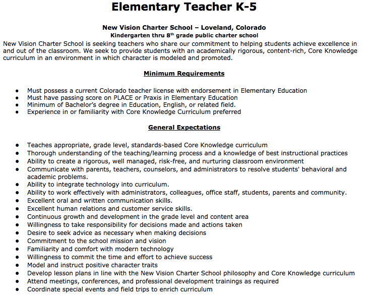 Elementary Teacher Job Description Elementary Teacher K New