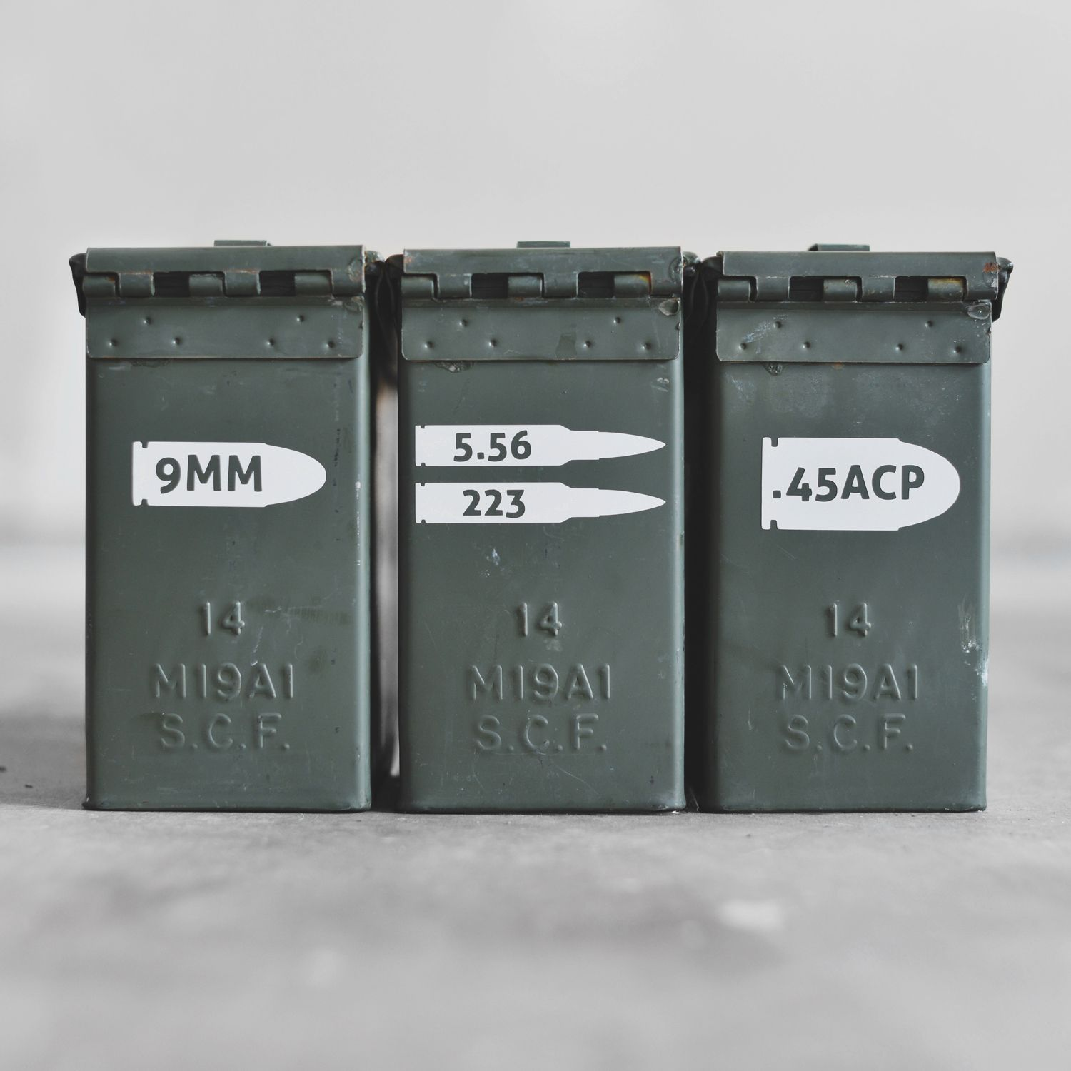 9mm/223/556 <b>No more writing on your ammo cans with permanent marker in your God awful handwriting! Use these Quick Recognition Ammo vinyls to label what caliber ammo you have filled inside.</b>...