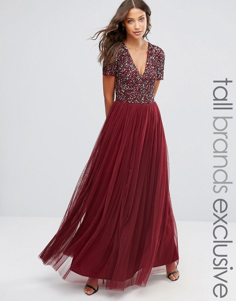 70840f01cc Maya Tall V Neck Tulle Maxi Evening Dress Tonal Delicate Sequins Maroon UK  12