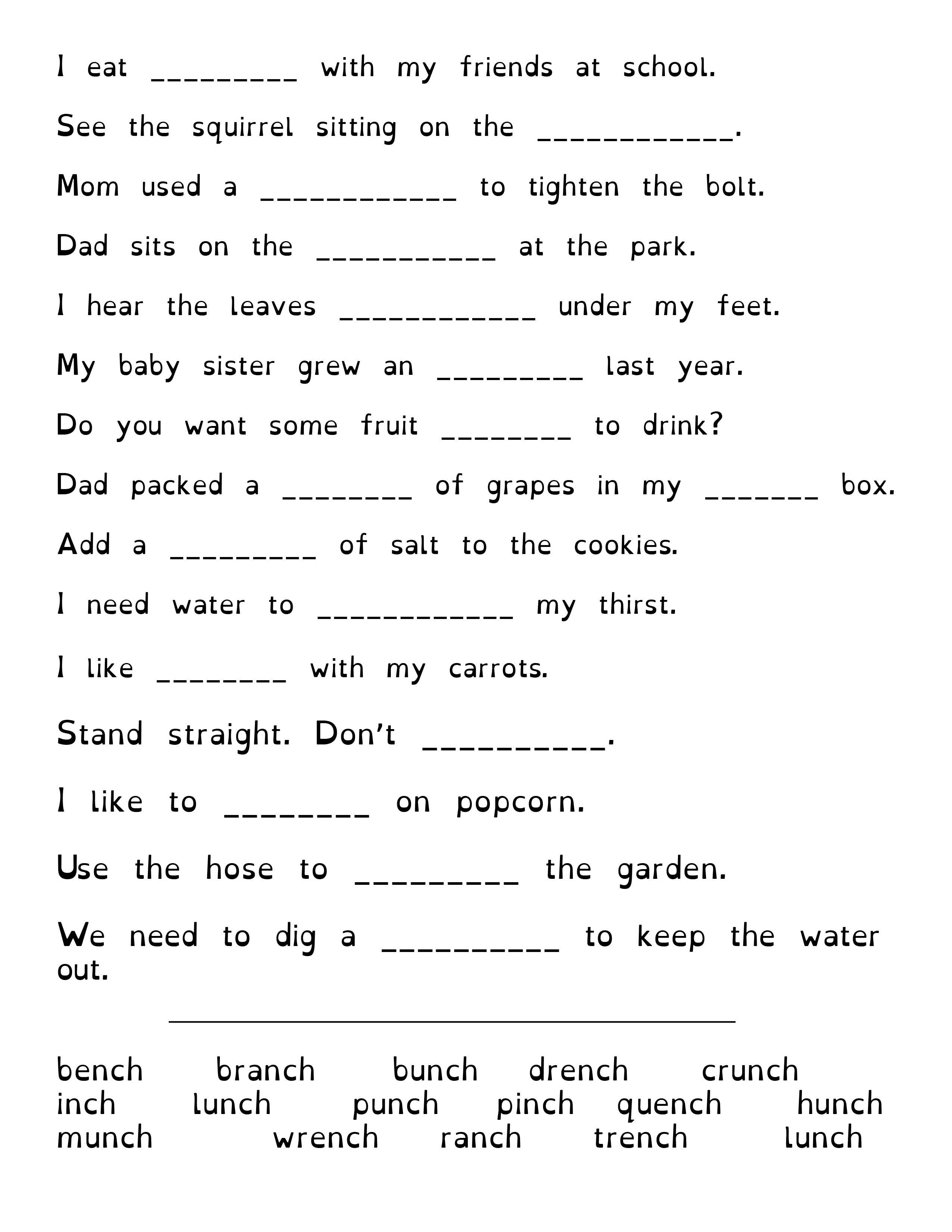 Nch Words Words Worksheets Free Dyslexia [ 3300 x 2550 Pixel ]