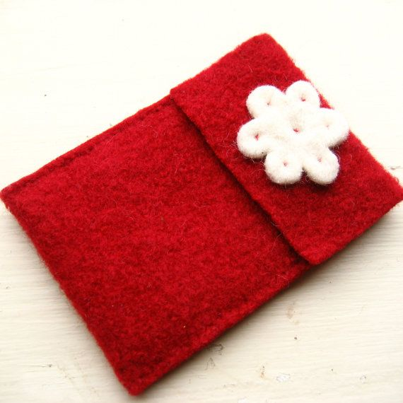 Red Wool Ipod Iphone Case with White Flower by FishHollow on Etsy, $12.00