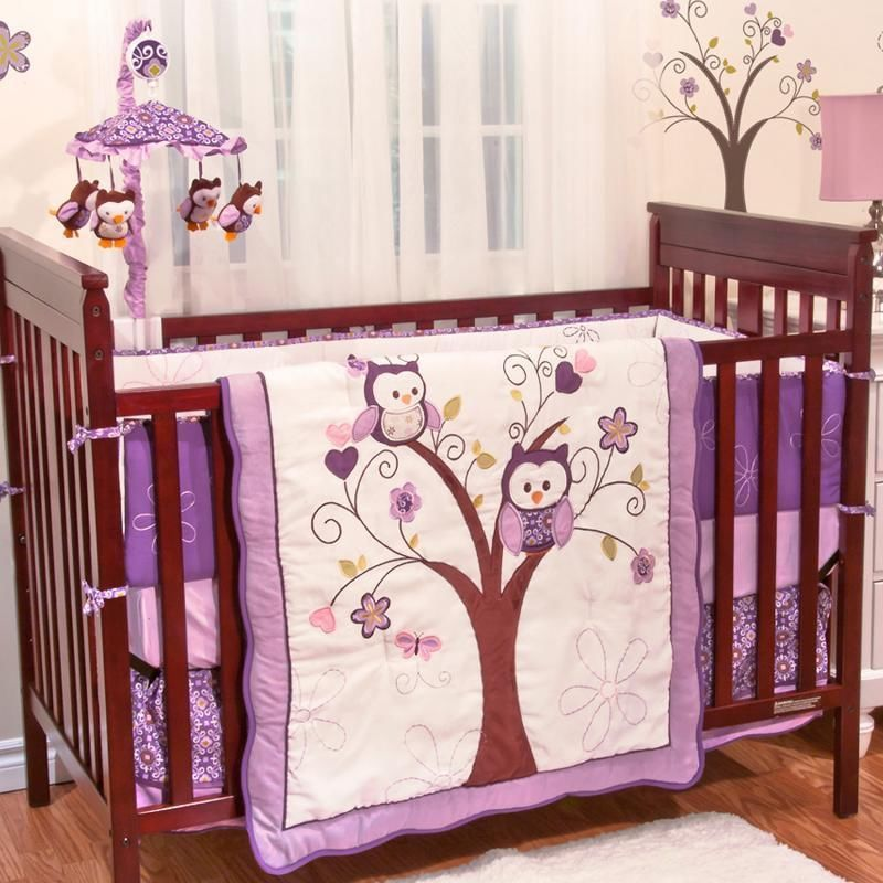 Purple Owl Animals Baby Girl Birds Themed 5pc w/ Bumper Nursery Crib Bedding  Set in - Purple Owl Animals Baby Girl Birds Themed 5pc W/ Bumper Nursery