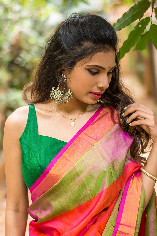 c4ad731edd2936 Emerald green raw silk sleeveless blouse with applique on back  blouse   saree  houseofblouse  desi  indianwear  green  rawsilk  spaghetti   sleeveless   ...