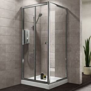 Plumbsure Square Shower Enclosure With Bi Fold Door W 800mm D 800mm Square Shower Enclosures Small Shower Stalls