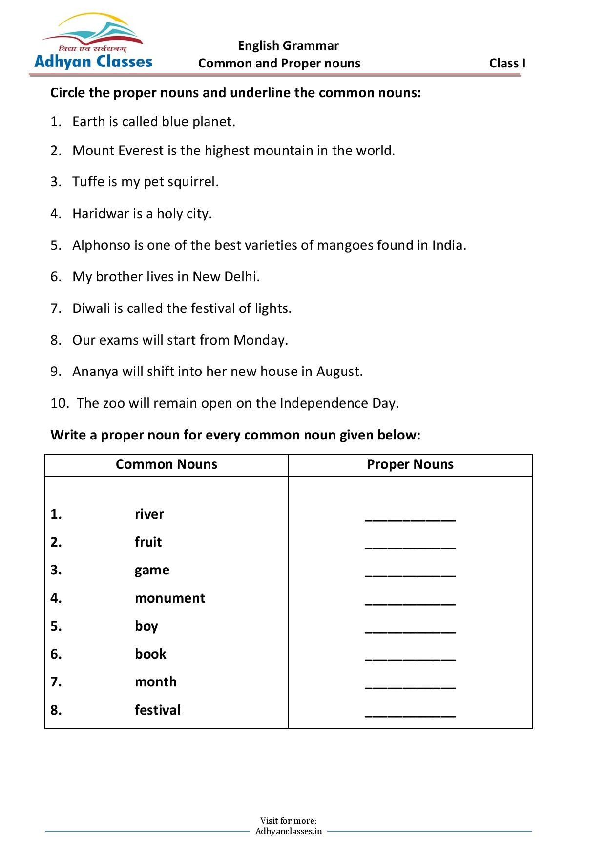 Common And Proper Nouns Worksheet Grade I In