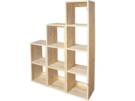 Estudio biblioteca cubos escritorios el tigre f brica - Muebles pino para pintar ...