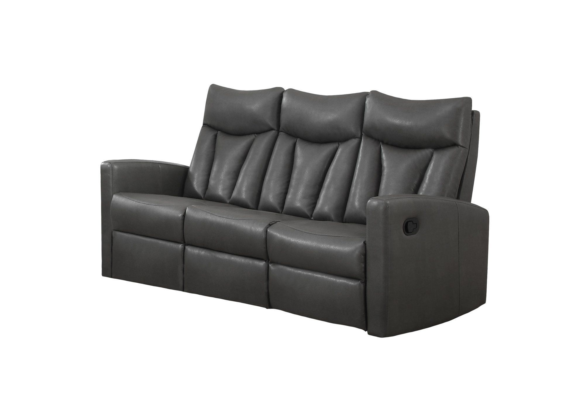 Astonishing Reclining Sofa Charcoal Grey Bonded Leather Products Andrewgaddart Wooden Chair Designs For Living Room Andrewgaddartcom