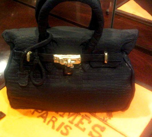 Hermes Birkin Bag Themed Cake  Fondant Decor w/ Hand-Painted Accents