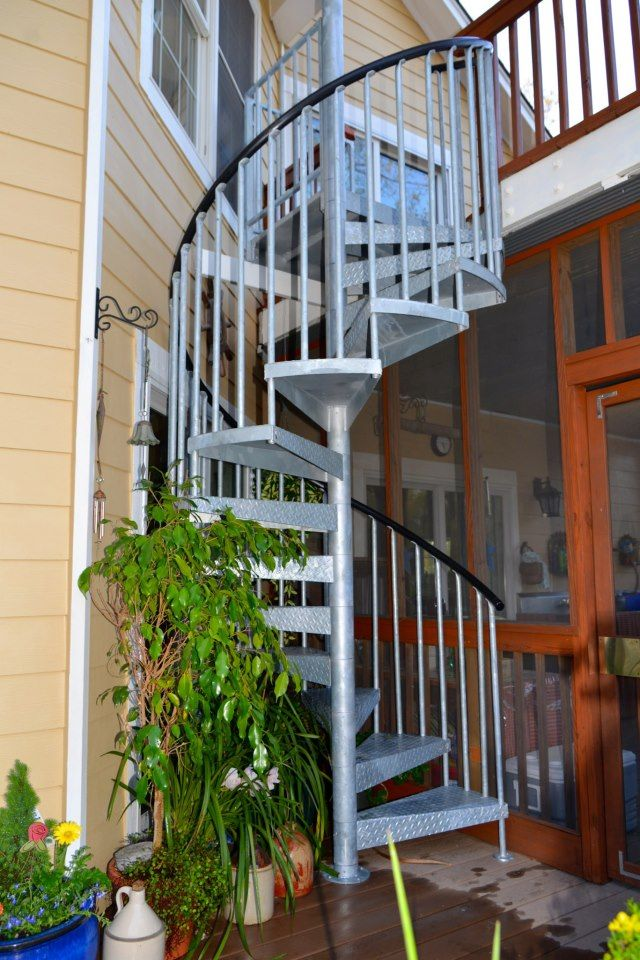 Best Galvanized Steel Spiral Stair On A Multi Level Deck 400 x 300
