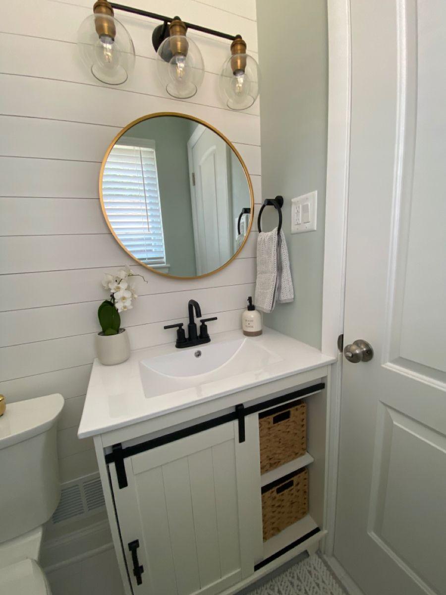 Modern farmhouse bathroom in 2020 Round mirror bathroom