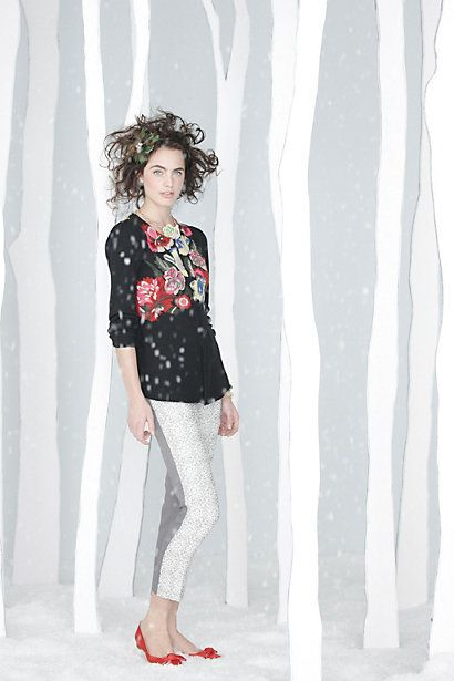 So fun for the holidays...wearing the leggings of your choice or even a pretty black pleated skirt.