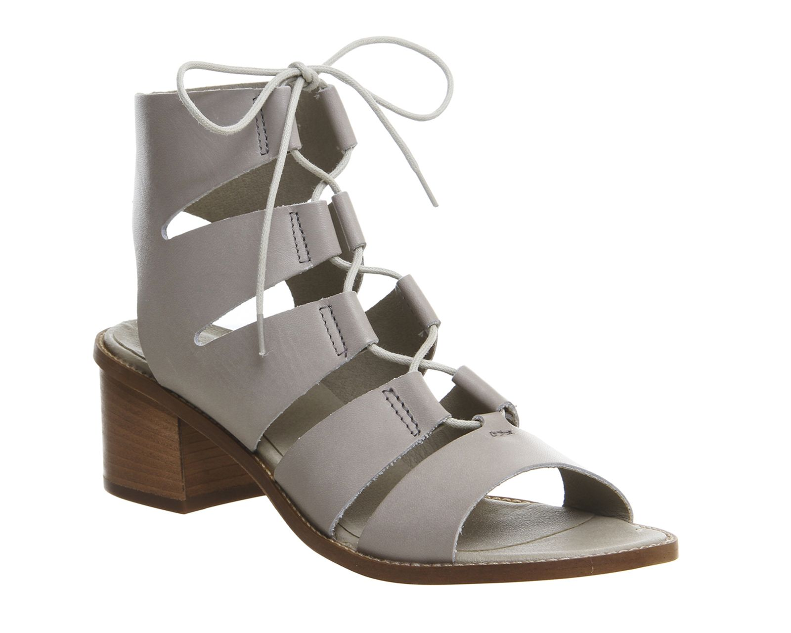 05cc2bed0b3 Buy Grey Leather Office Wisteria Lace Up Block Heels from OFFICE.co ...