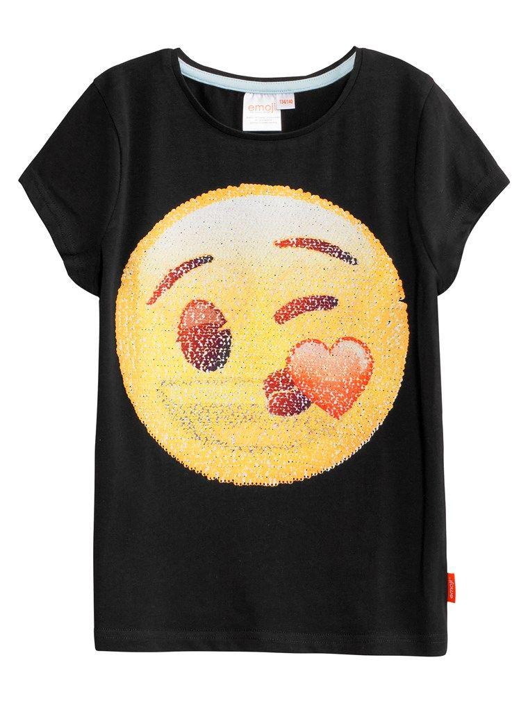 En t skjorte med Emoji paljettrykk som endrer motiv. Emojien