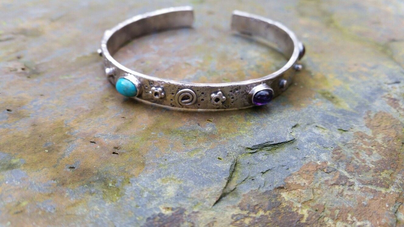 Silver and gemstone  bangle