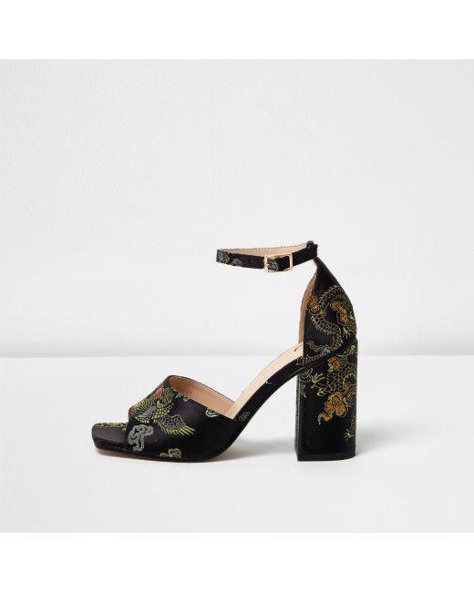 b04a4e7ba007 Women s Black Embroidered Oriental Block Heel Sandals