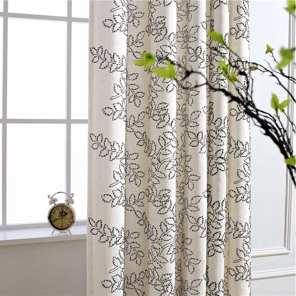 Amazon Com Koting Home Fashion Cream White Natural Linen Black