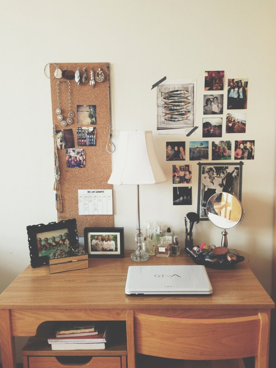I love how this typical dorm room desk has been