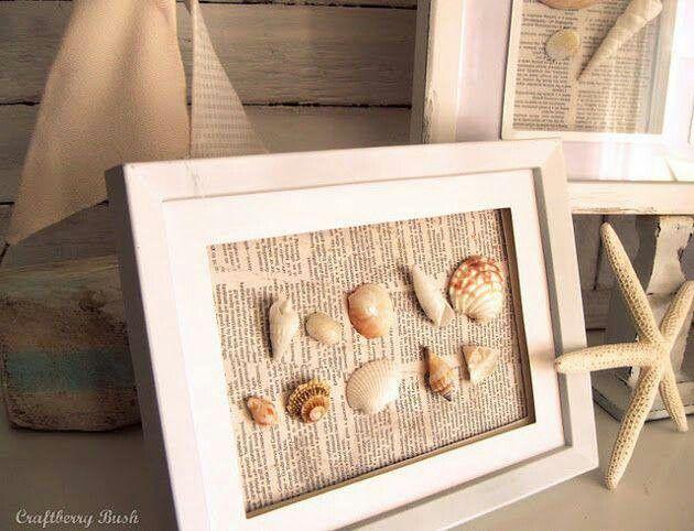 Cuadro decorativo (papel de periodico y conchas)