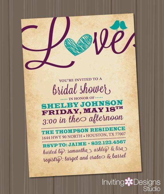 bridal shower invitation love birds heart aqua purple teal rustic customize your color printable file