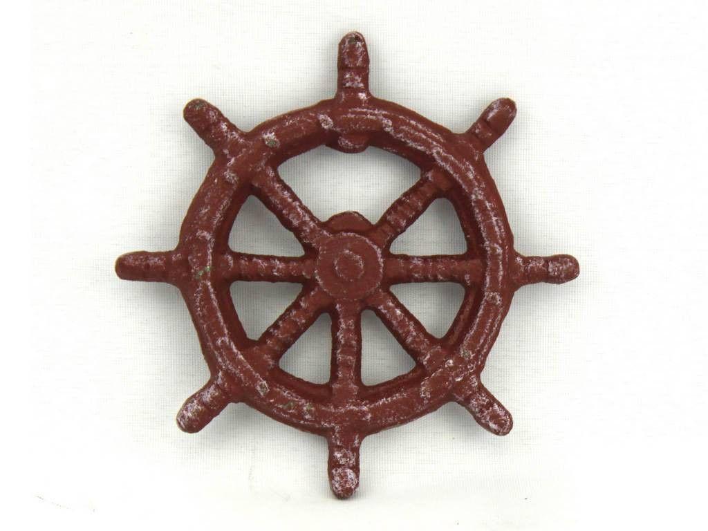 Red Whitewashed Cast Iron Ship Wheel Bottle Opener 3 75