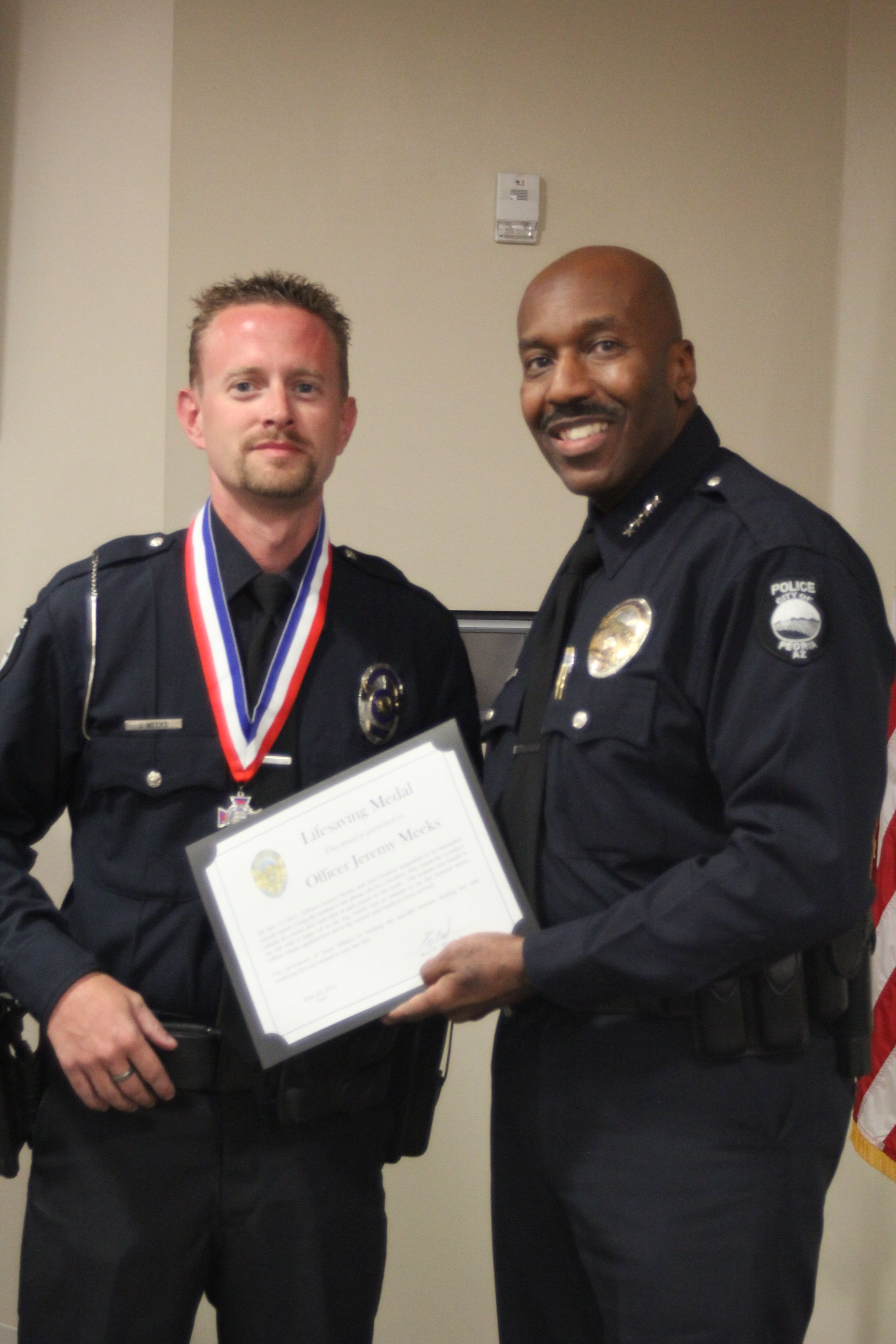 Officer J Meeks Awarded The Department Lifesaving Award For His Actions In 2013 Recognition Performance Police Department
