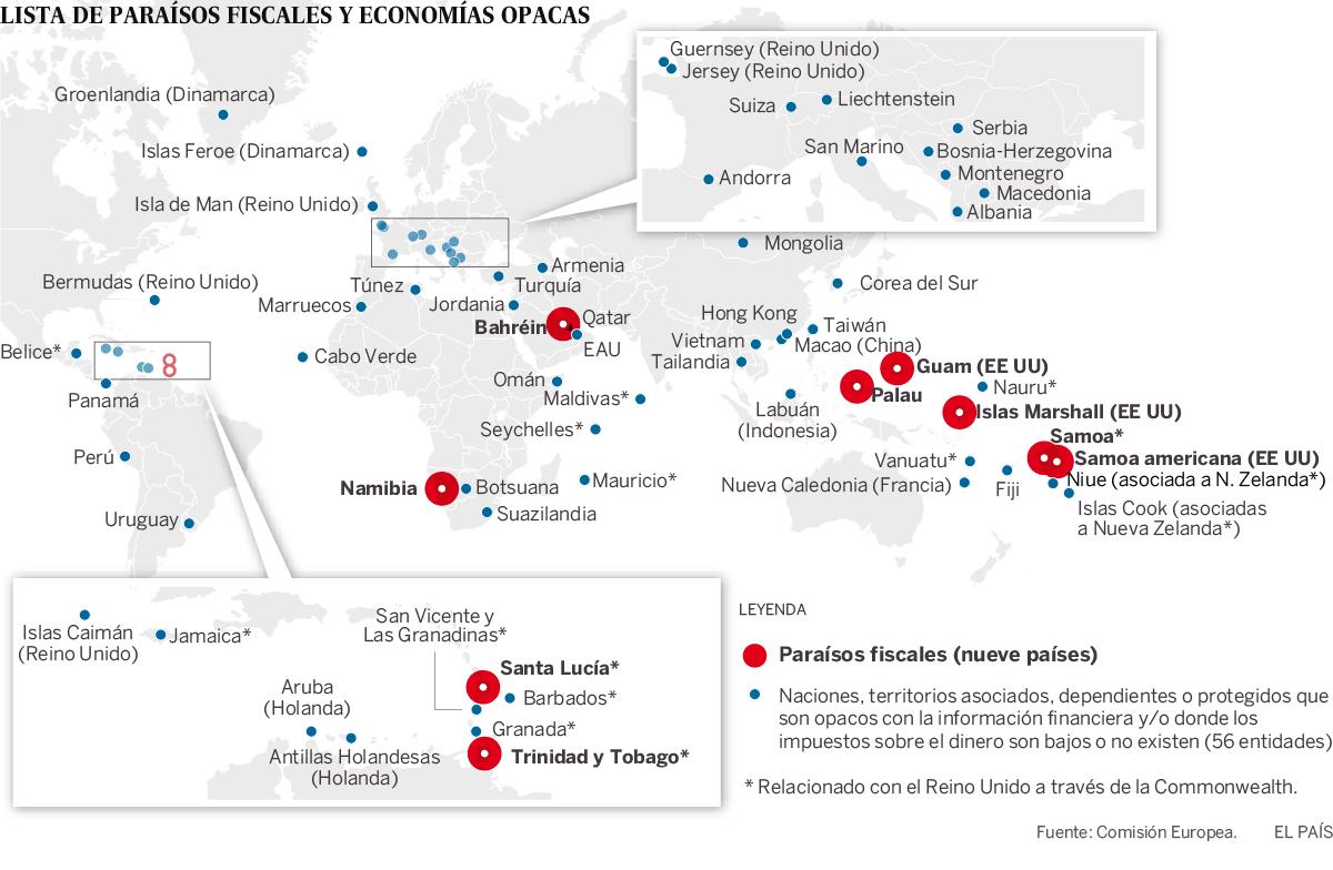 Agujeros Negros En La Lista De Paraísos Fiscales De La Ue Paraíso Fiscal Mapa Bahrein