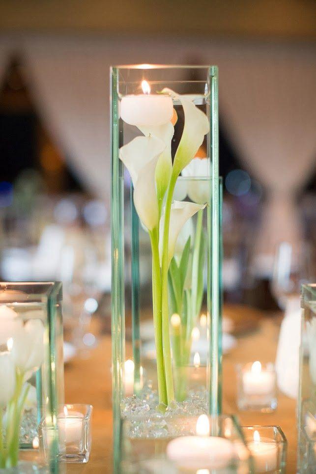 Bat mitzvah centerpiece white calla lily in clear vases
