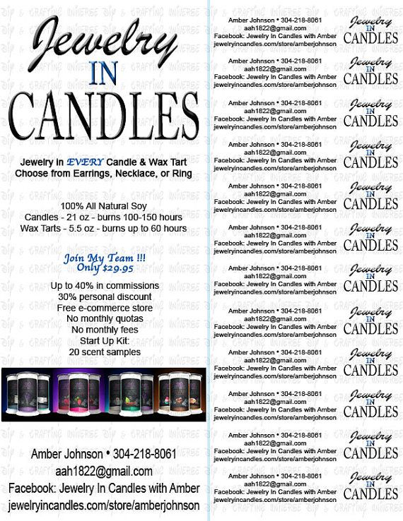 jewelry in candles pull tabs flyer jic pinterest
