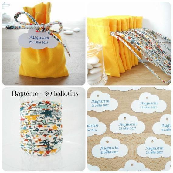 Ballotin à dragée Mariage et Baptême, Tissu jaune et ruban Liberty Adelajda multicolore, étoiles, étiquette papier personnalisée, pochon