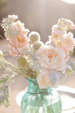 This flower arrangement in this vase captured in the sunlight just makes me smile!   Love the soft peach color of these flowers!