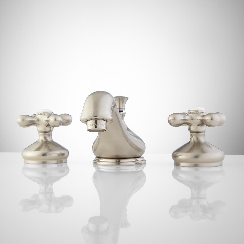 Teapot Widespread Bathroom Faucet Cross Handles Widespread