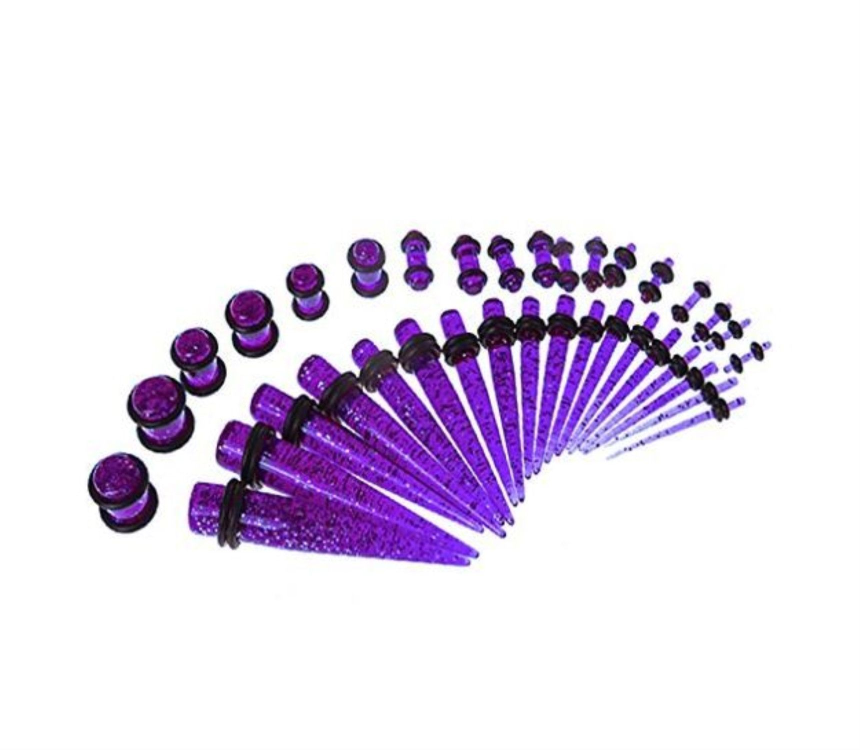 BodyJ4You® Gauges Kit 18 Pairs Purple Glitter Acrylic Tapers & Plugs 14G 12G 10G 8G 6G 4G 2G 0G 00G 36 Pieces