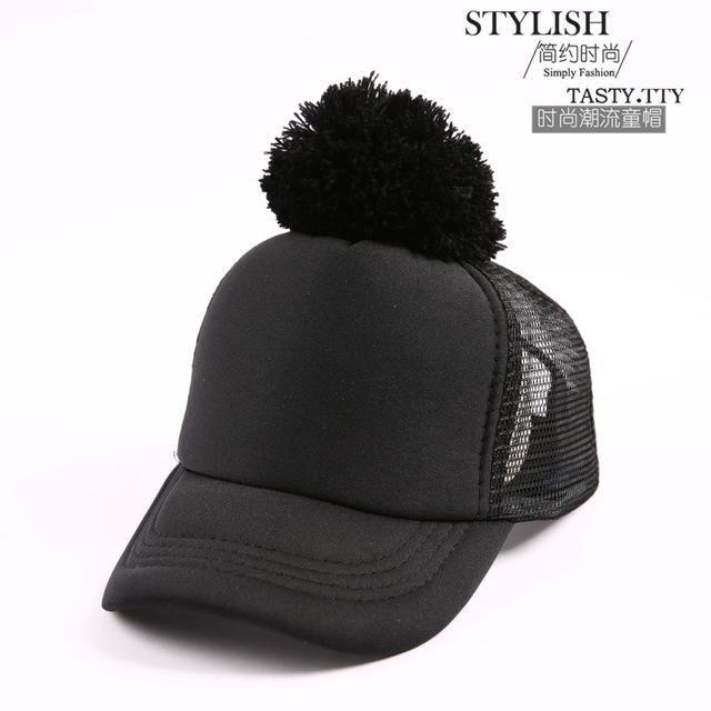 03c31e1fc1a Spring Summer Big Ball Cap Kids Baseball Hats Pom poms Hats Leisure Sun  Visor Sun Mesh Hat Snapback Cap