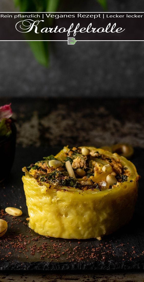 Kartoffelrolle mit veganer Feta-Spinat-Hack-Füllung - Dailyvegan